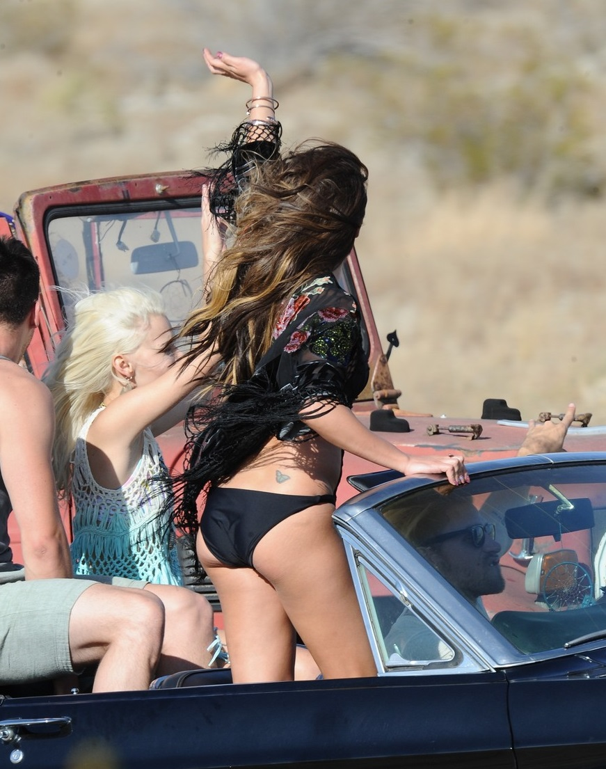 "Lea Michele filming ""On My Way"" music video"
