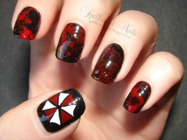 umbrella nails halloween