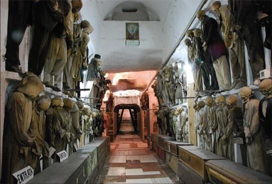 Catacumbas Capuchino en Palermo, Italia.