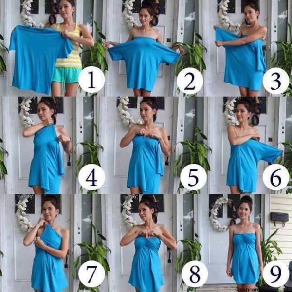 ideas convertir playera en vestido 10