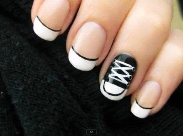 blanco negro unas