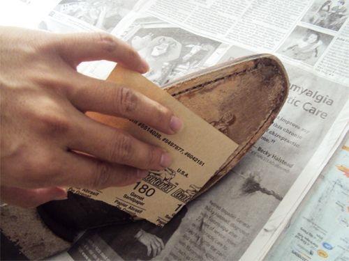 Sandpaper the soles