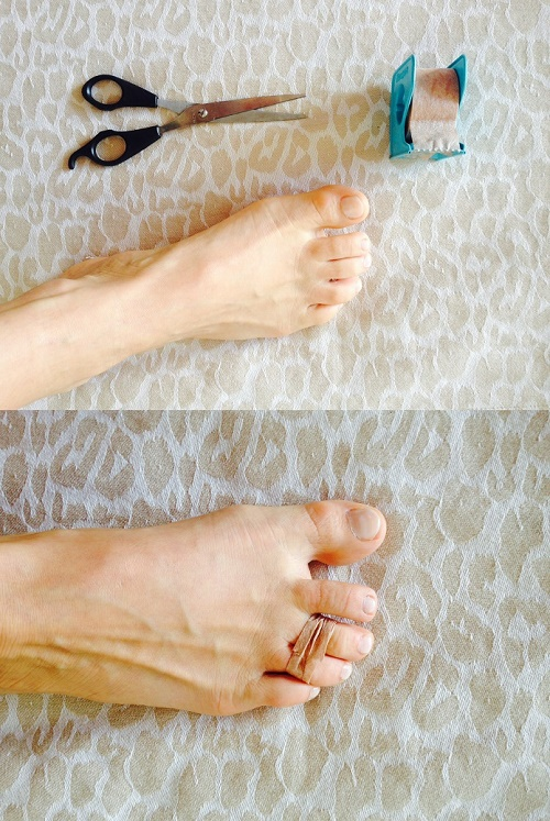 Tape your third and fourth toe together to hack high heels2