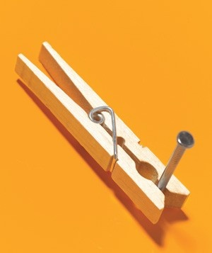 Clothespin as Nail Holder