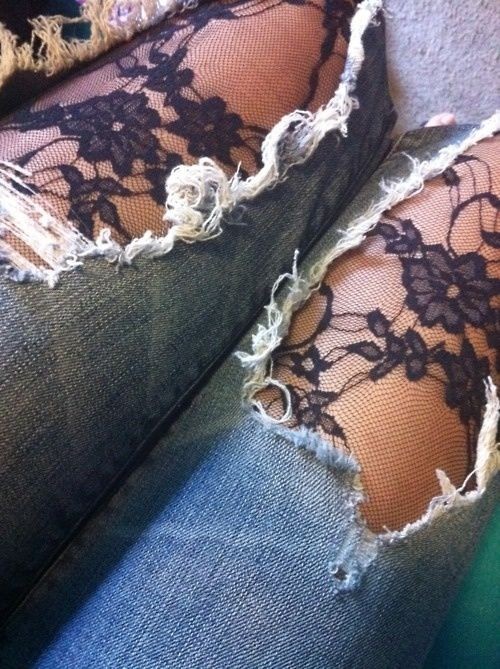 tights under ripped jeans
