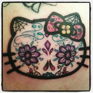 kitty tatuaje dia de muertos