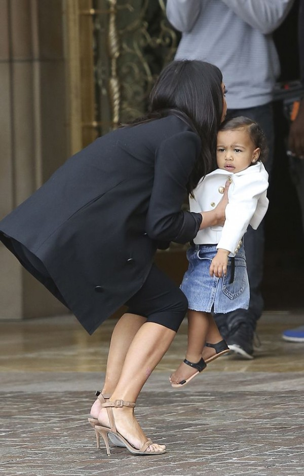 ***MANDATORY BYLINE TO READ INFphoto.com ONLY*** The Kardashians are seen arriving at their sister, Kourtney Kardashian's baby shower today at the Montage Beverly Hills Hotel in Beverly Hills, California. Pictured: Kim Kardashian and North West Ref: SPL888701 121114 Picture by: INFphoto.com