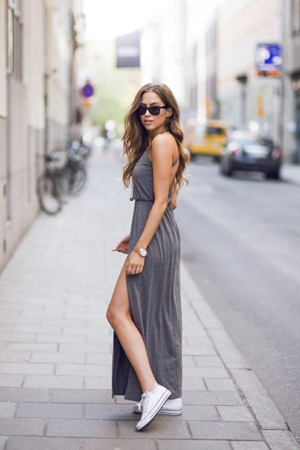 Vestido largo casual con tenis