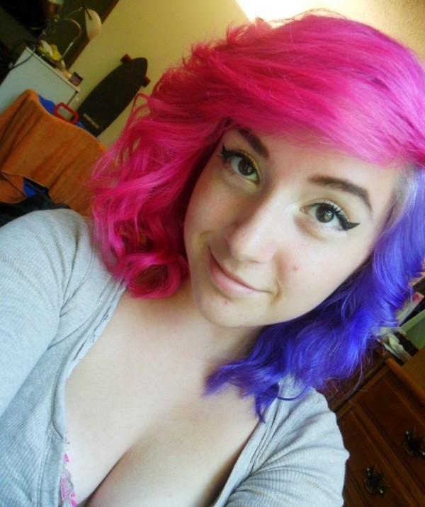 azul y rosa cabello