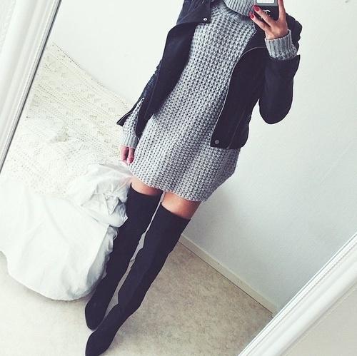 botas largas vestido