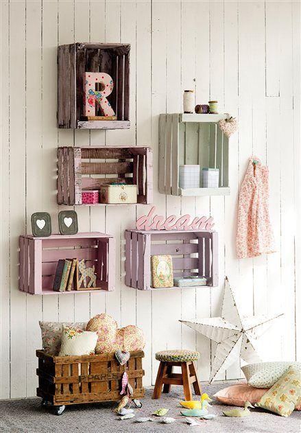 16 creativas maneras de decorar con cajas de madera - Como decorar cajas de fruta ...