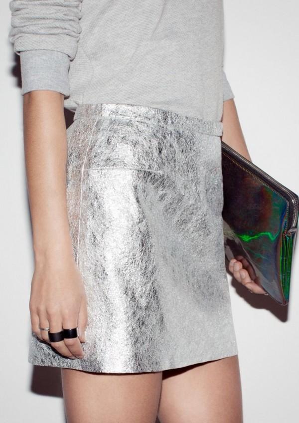 falda plateada