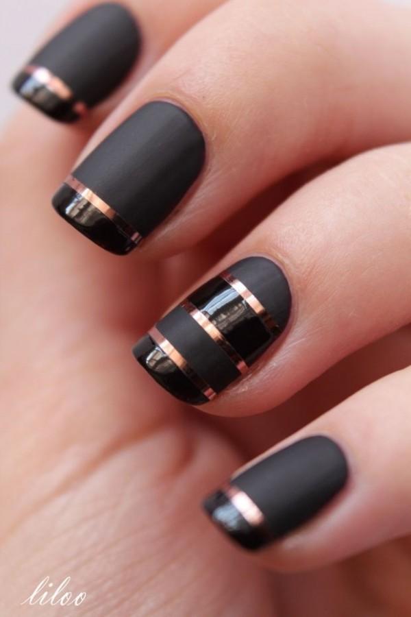 17 Diseños que sólo podrás lograr con esmalte color negro mate