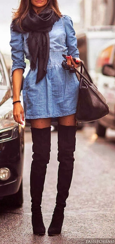 Outfits vestidos con botas largas
