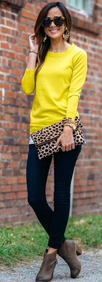 J.Crew Tippi Sweater in Lemon Zest   Joe's Jeans 'Flawless - Honey' Curvy Skinny Jeans   BP. Trott Bootie in Chocolate