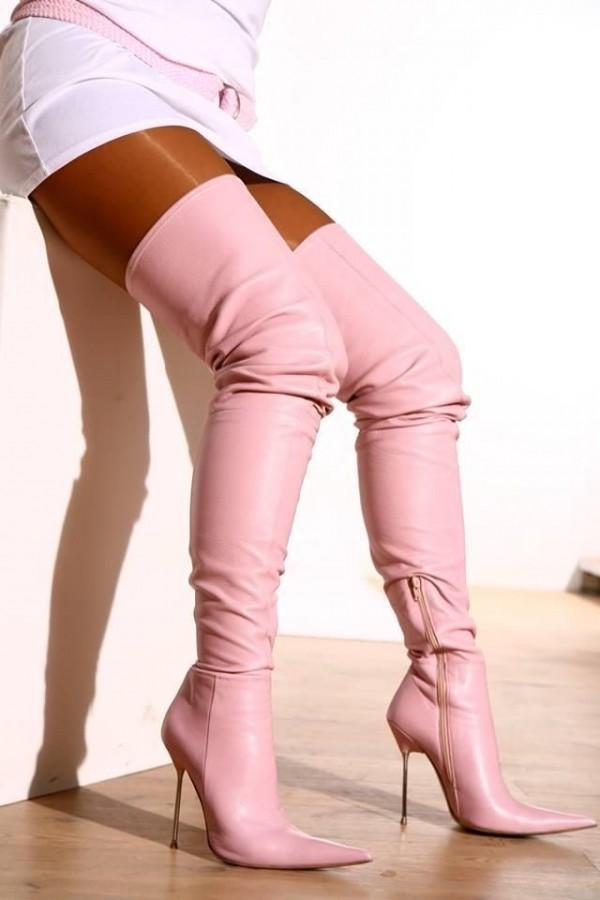 botas largas rosas