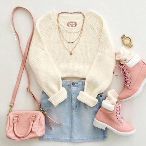 botas timberland rosas outfit