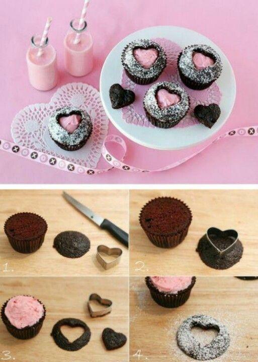 cupcakes corazones