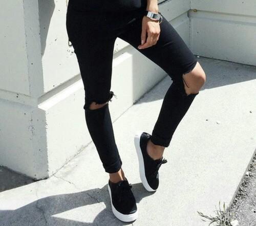 jeans negros tenis