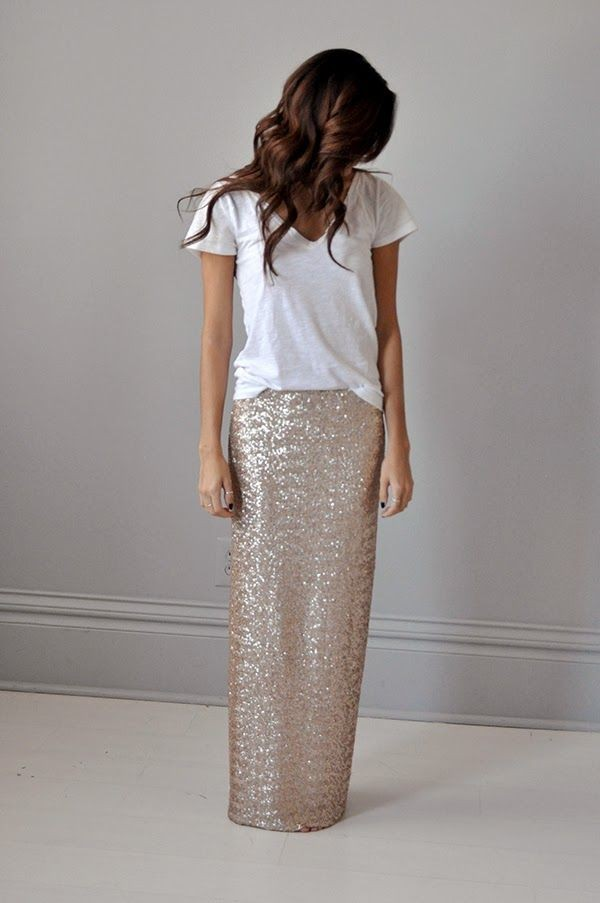maxi falda dorada