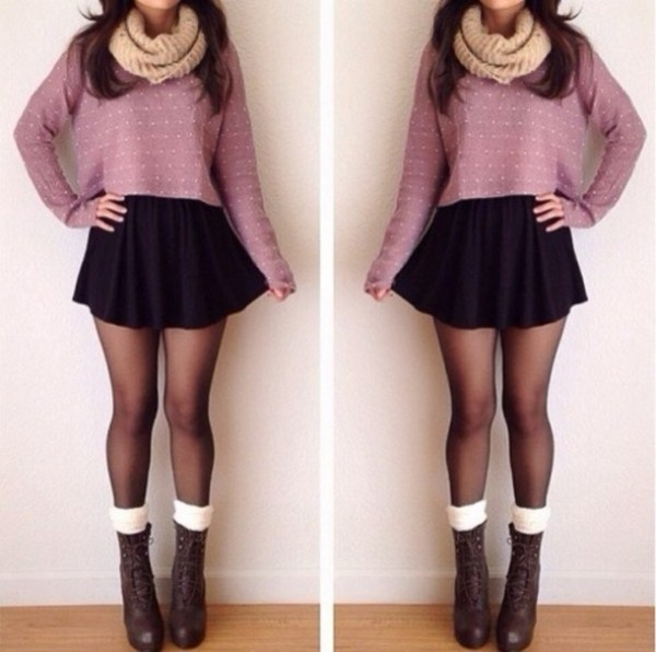 pq13hi-l-610x610-sweater-skirt-shoes-scarf-tights-black-black+skirt-socks-fall+outfits-cropped-snood-cream-boots-heels-legwarmers-lace-cropped+sweater-lavender-skater+skirt--blouse-combat+boots-swe