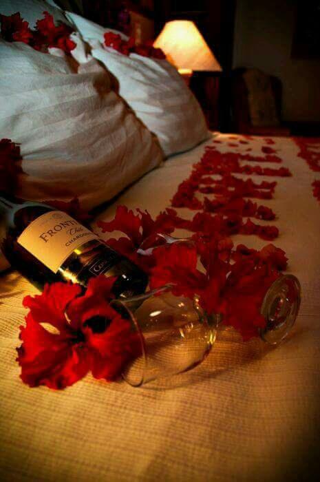 rosas en la cama