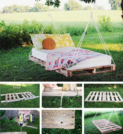 cama en el patio