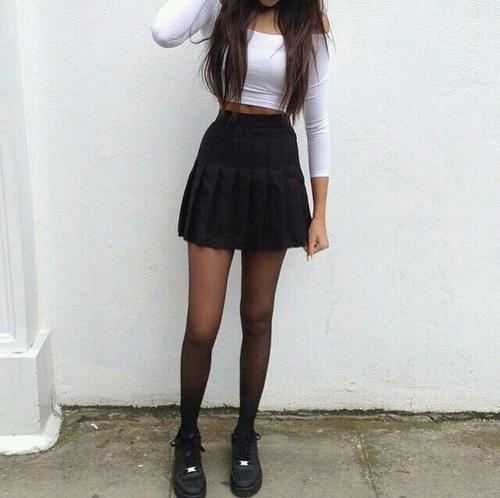 falda blanco negro