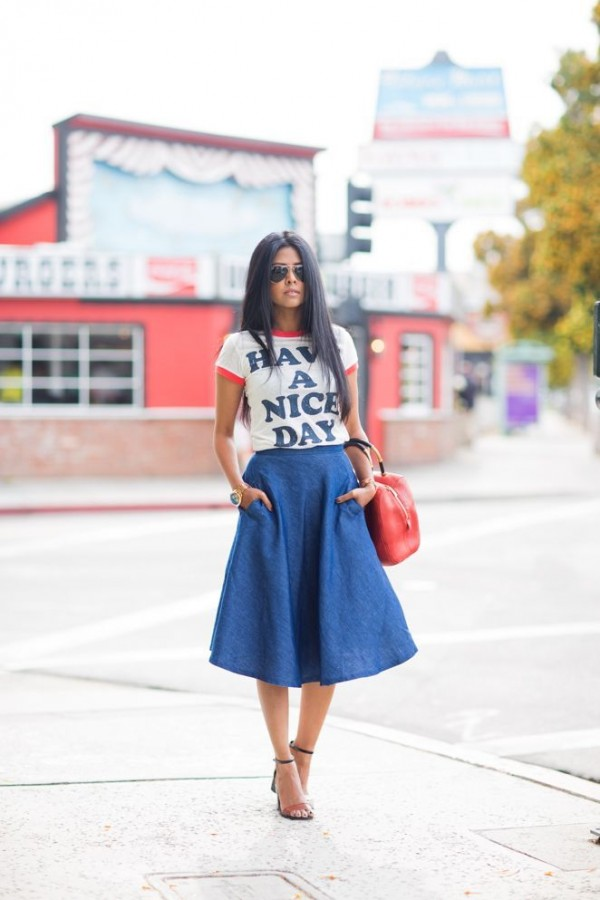 falda larga mezclilla