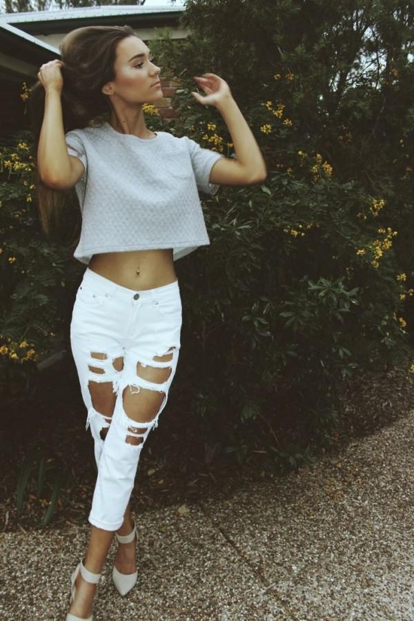 jeans blancos rotos