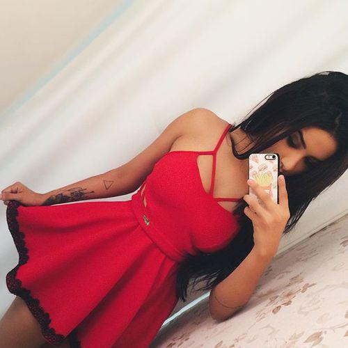 vestido rojo lindo