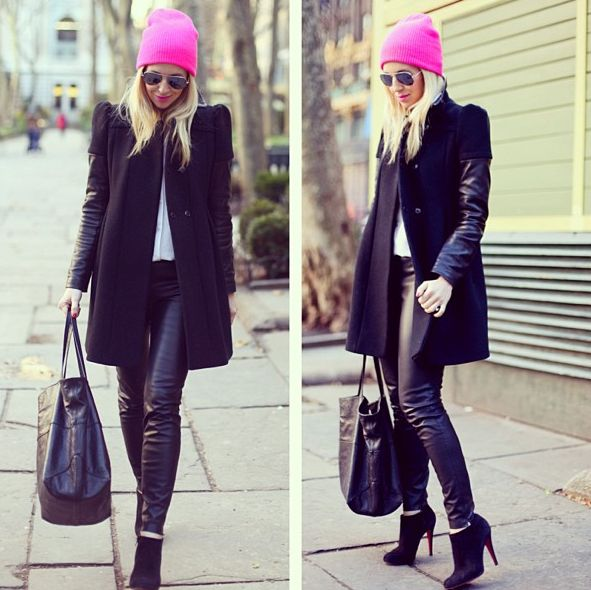 black and pink outifit
