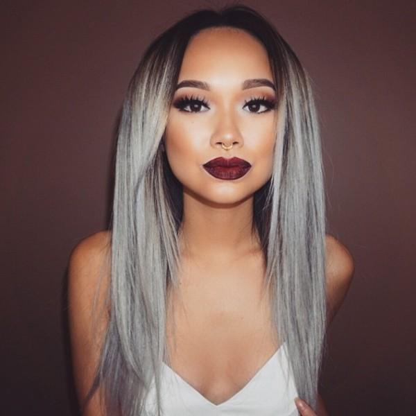 cabello gris morenas