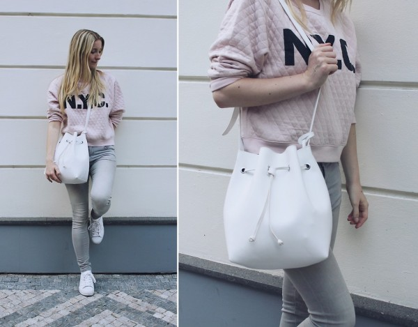 jeans con sudadera rosa