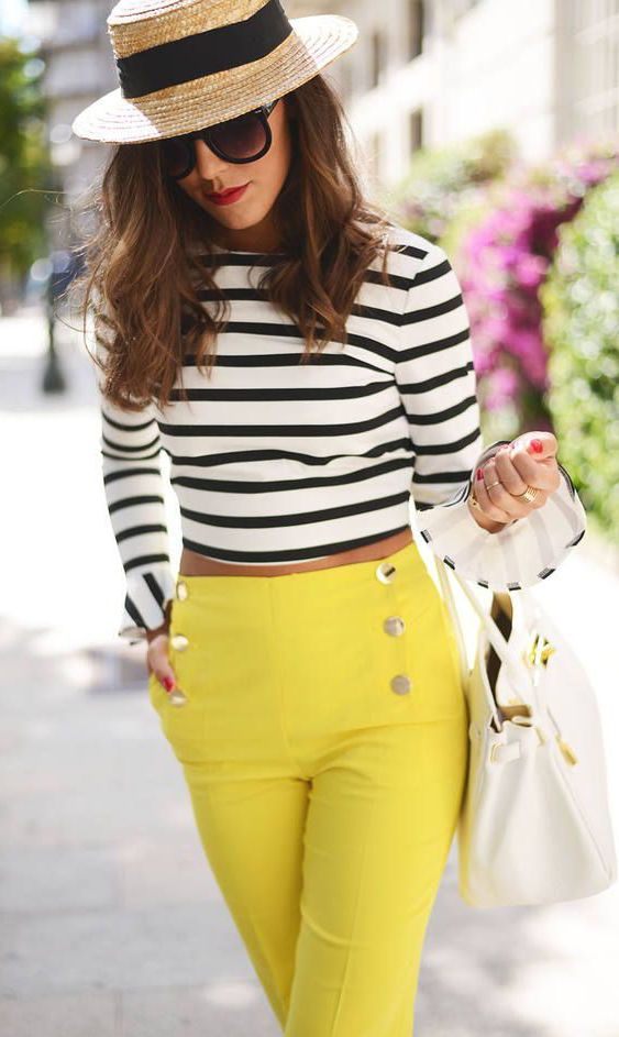 High wasted pants top
