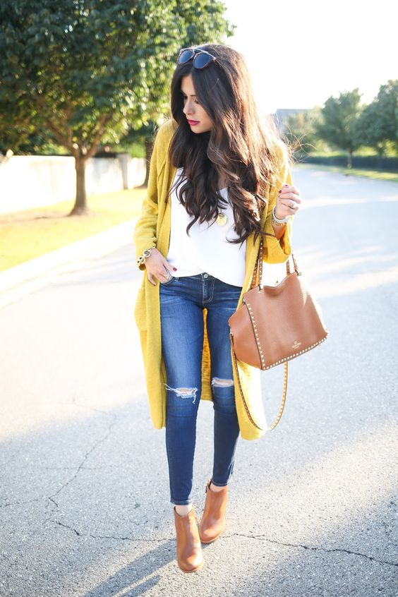 cardigan amarillo