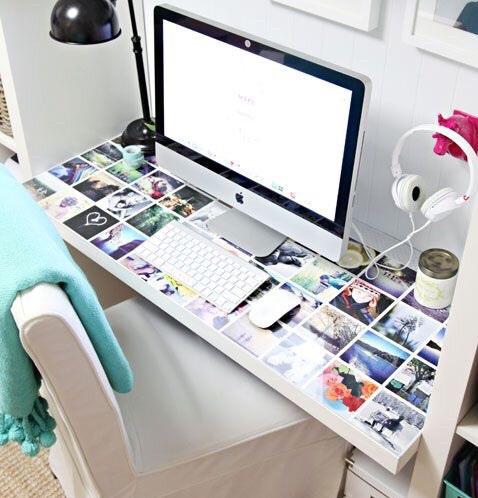espejo y fotos escritorio