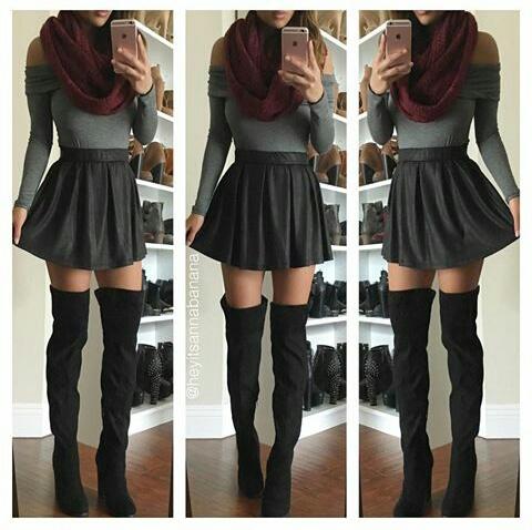 falda negra thight