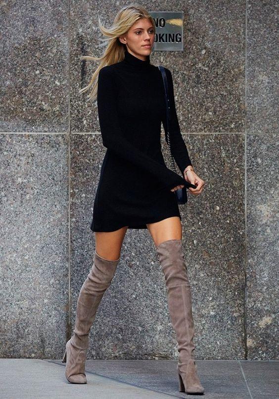Como combinar un vestido corto con botas