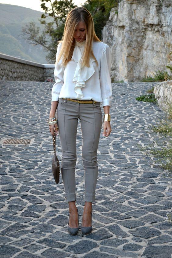 brilliant outfit oficina gris o