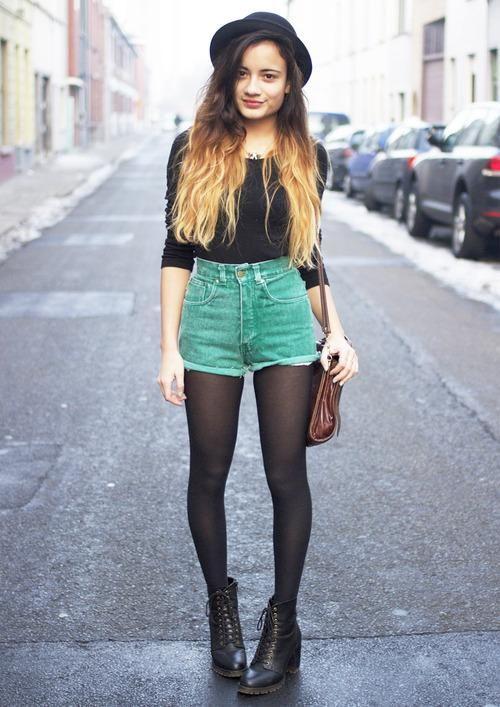 shorts verdes grunge
