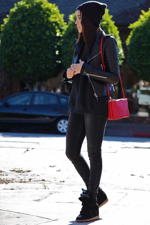 all black wedge sneakers