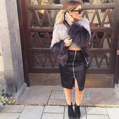 falda larga piel