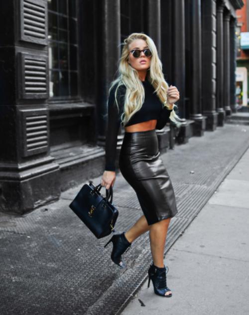 long leather skirt