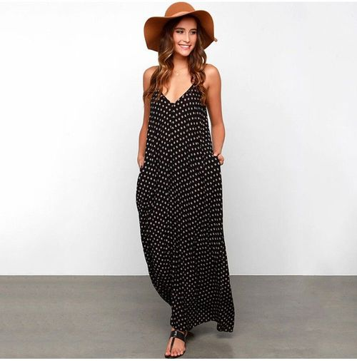 maxi dress con sombrero