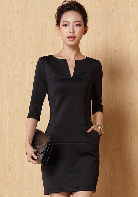 Outfit con vestido negro formal