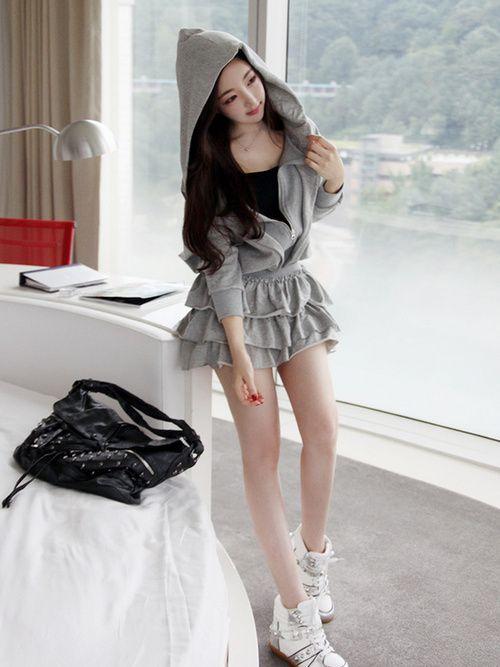 vestido corto gris