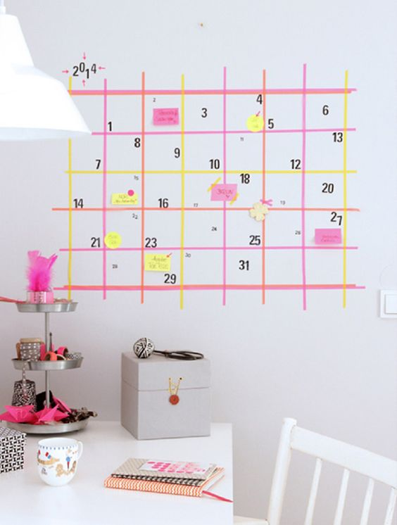 calendario actividades pared
