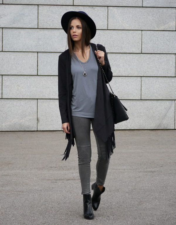 gray outfit