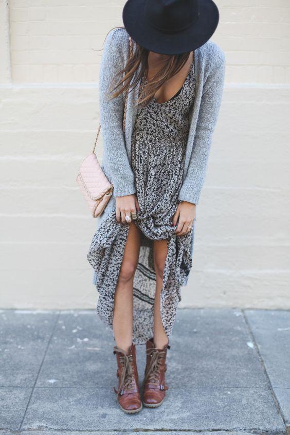 maxi dress botas